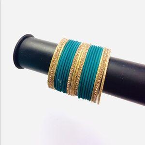 🤩 TEAL Indian Pakistani bangles bracelet set